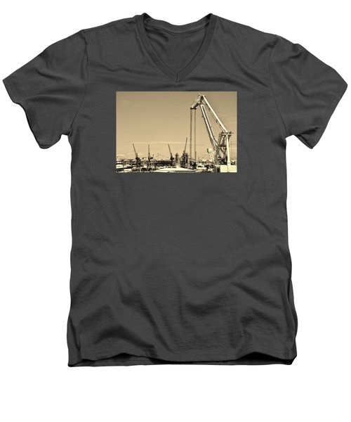 Men's V-Neck T-Shirt featuring the photograph Harbor Impression by Werner Lehmann