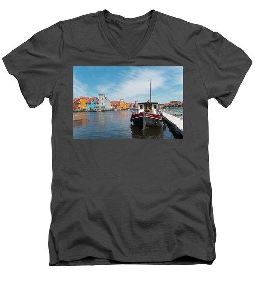 Harbor In Groningen Men's V-Neck T-Shirt by Hans Engbers