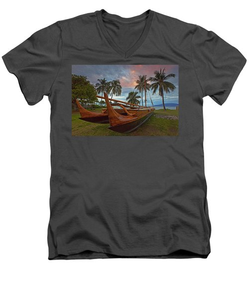 Hawaiian Sailing Canoe Men's V-Neck T-Shirt by James Roemmling