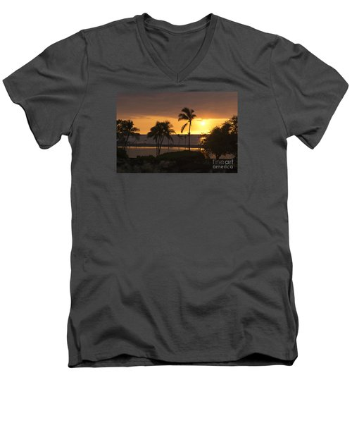Hawaiian Sunset Men's V-Neck T-Shirt by Loriannah Hespe
