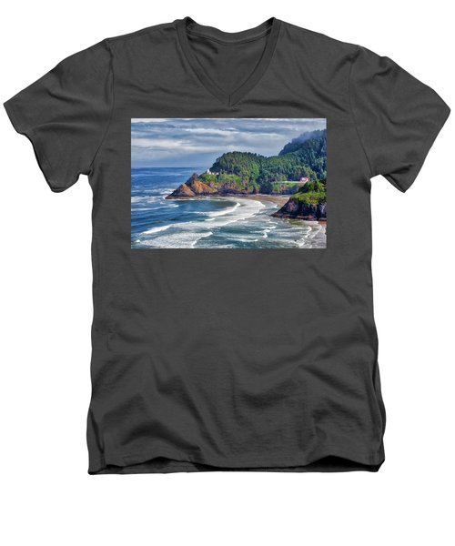 Heceta Head Light - Color Men's V-Neck T-Shirt