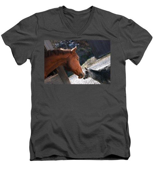 Hello Friend Men's V-Neck T-Shirt by Angela Rath