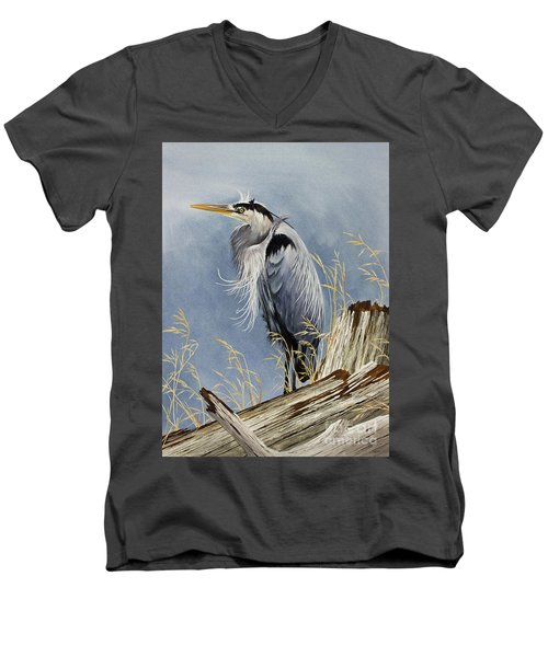 Men's V-Neck T-Shirt featuring the painting Herons Windswept Shore by James Williamson