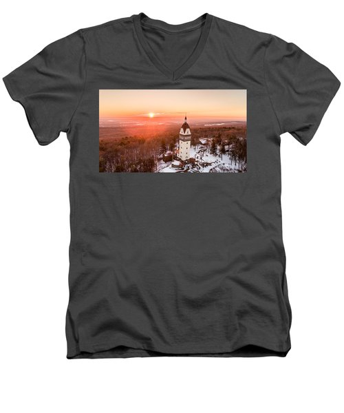 Heublein Tower In Simsbury, Connecticut Men's V-Neck T-Shirt by Petr Hejl