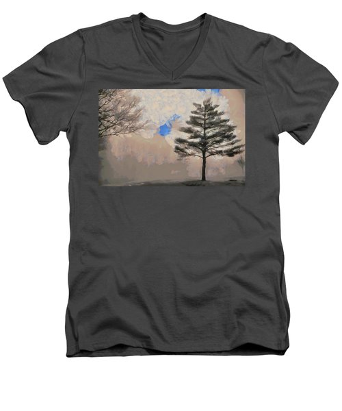 Men's V-Neck T-Shirt featuring the mixed media Hickory by Trish Tritz