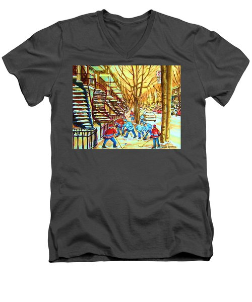 Men's V-Neck T-Shirt featuring the painting Hockey Game Near Winding Staircases by Carole Spandau