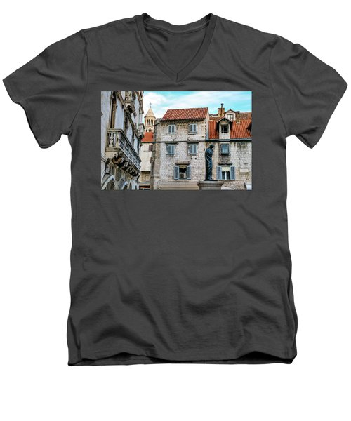 Houses And Cathedral Of Saint Domnius, Dujam, Duje, Bell Tower Old Town, Split, Croatia Men's V-Neck T-Shirt by Elenarts - Elena Duvernay photo