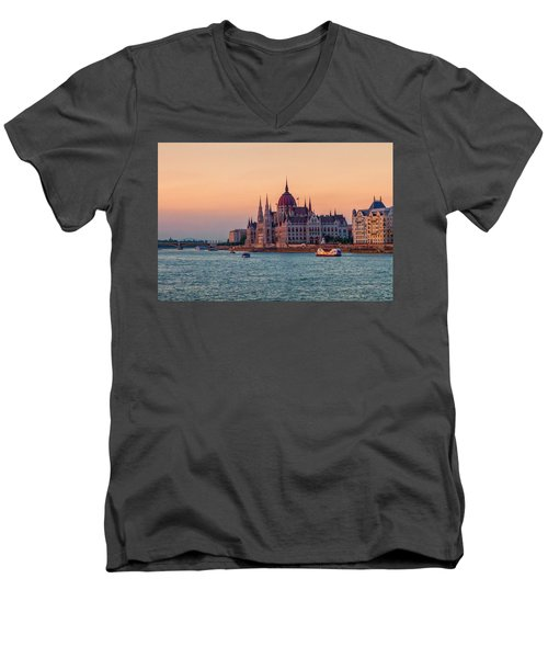 Hungarian Parliament Building In Budapest, Hungary Men's V-Neck T-Shirt