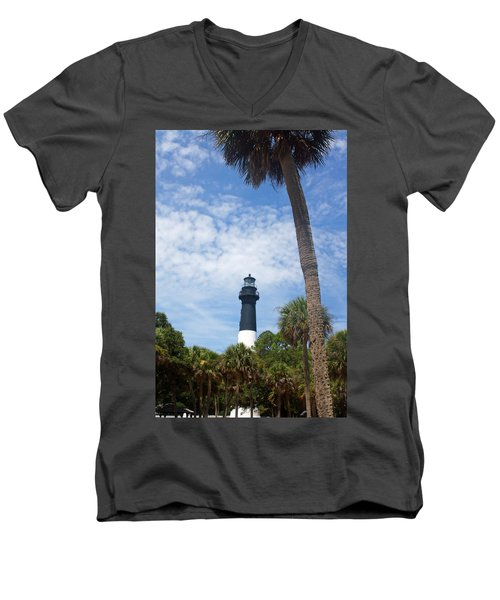 Hunting Island Lighthouse Men's V-Neck T-Shirt by Ellen Tully
