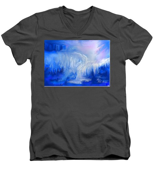 Ice Falls Men's V-Neck T-Shirt by Sherri's Of Palm Springs