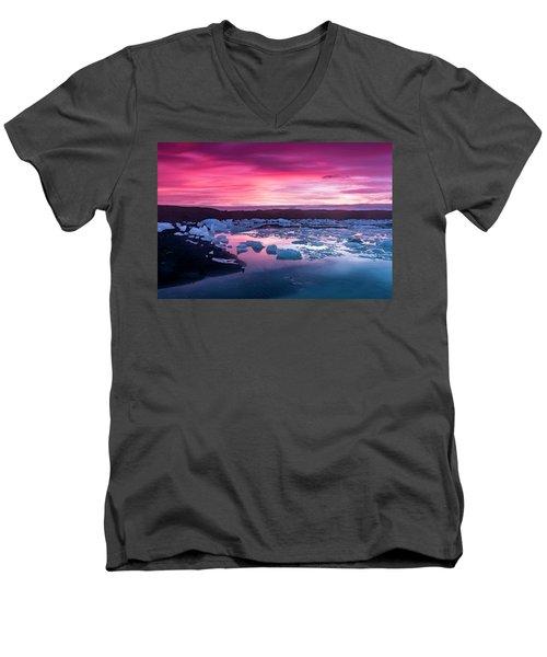 Iceberg In Jokulsarlon Glacial Lagoon Men's V-Neck T-Shirt by Joe Belanger