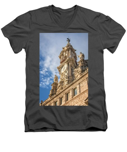 Men's V-Neck T-Shirt featuring the photograph Iglesia De Los Santos Juanes Valencia Spain by Joan Carroll