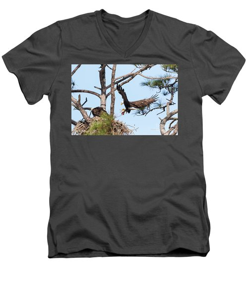 Men's V-Neck T-Shirt featuring the photograph Incoming Food by Deborah Benoit