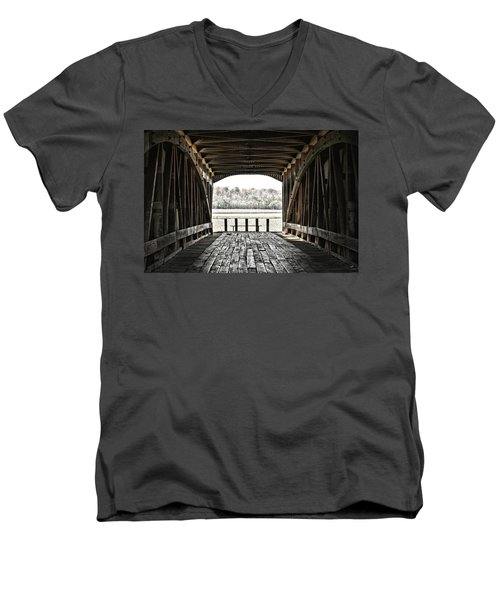 Men's V-Neck T-Shirt featuring the photograph Inside The Covered Bridge by Joanne Coyle