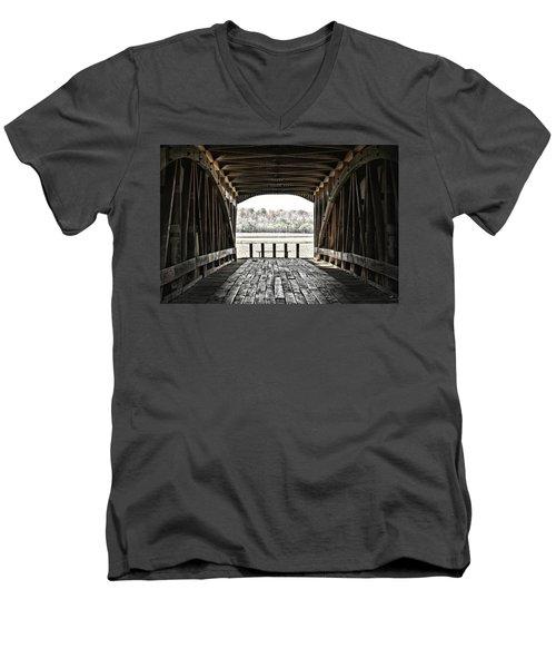 Inside The Covered Bridge Men's V-Neck T-Shirt by Joanne Coyle