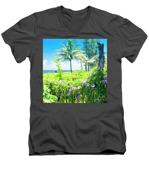 Ipomoea Keanae Morning Glory Maui Hawaii Men's V-Neck T-Shirt by Sharon Mau