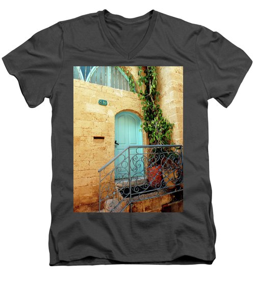 Men's V-Neck T-Shirt featuring the photograph Jaffa-israel by Denise Moore