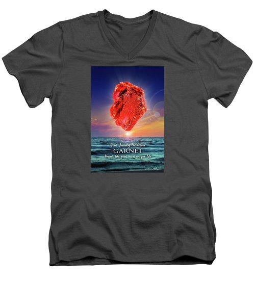 January Birthstone Garnet Men's V-Neck T-Shirt