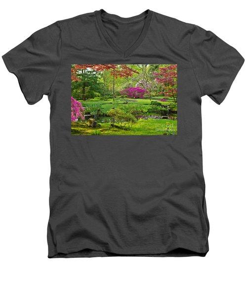 Japanese Garden Men's V-Neck T-Shirt by Anastasy Yarmolovich
