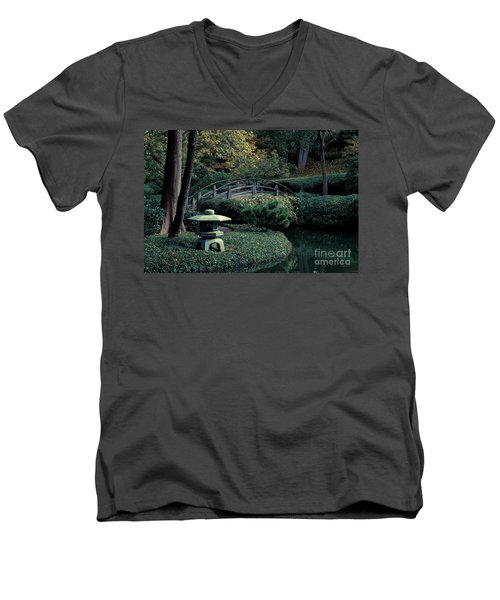 Men's V-Neck T-Shirt featuring the photograph Japanese Garden In Summer by Iris Greenwell