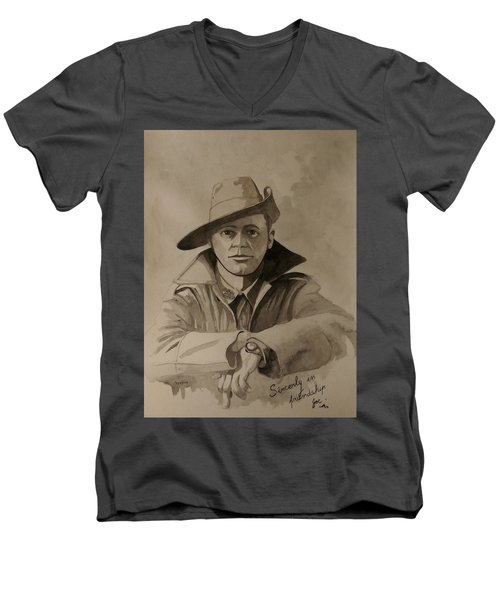 Men's V-Neck T-Shirt featuring the painting Joe by Ray Agius