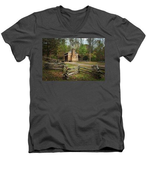 John Oliver Cabin Cades Cove Men's V-Neck T-Shirt by Lena Auxier