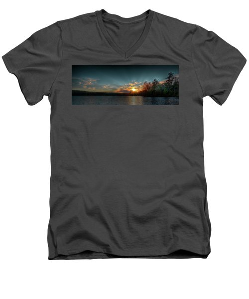 June Sunset On Nicks Lake Men's V-Neck T-Shirt by David Patterson