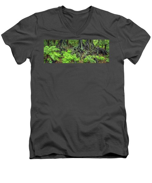 Men's V-Neck T-Shirt featuring the photograph Jungle Roots by Les Cunliffe
