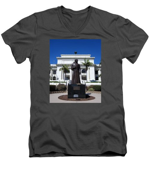 Men's V-Neck T-Shirt featuring the photograph  Serra At City Hall by Mary Ellen Frazee