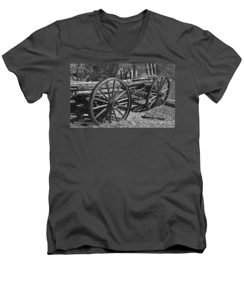 Men's V-Neck T-Shirt featuring the photograph  Junk Pile by Debby Pueschel