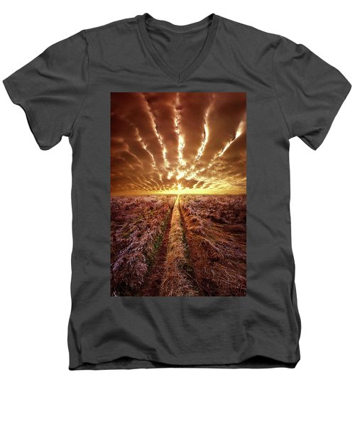 Men's V-Neck T-Shirt featuring the photograph Just Over The Horizon by Phil Koch