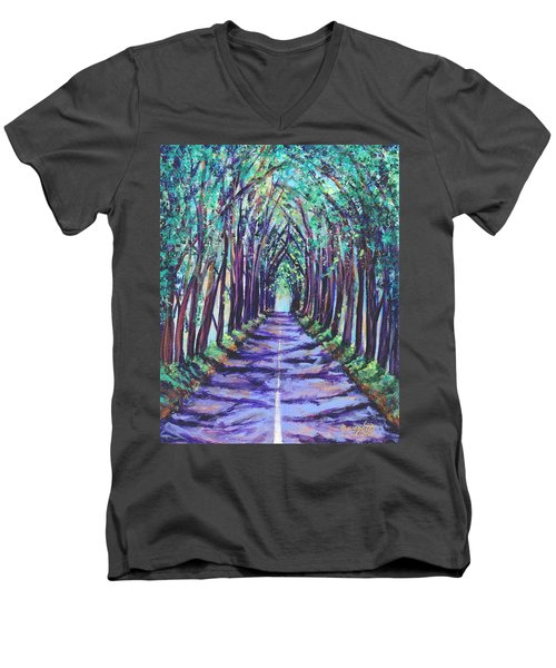 Men's V-Neck T-Shirt featuring the painting Kauai Tree Tunnel by Marionette Taboniar