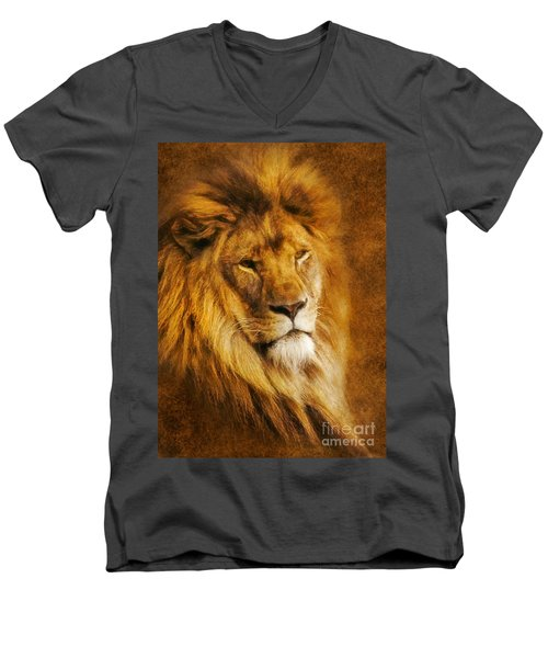 King Of The Beasts Men's V-Neck T-Shirt by Ian Mitchell
