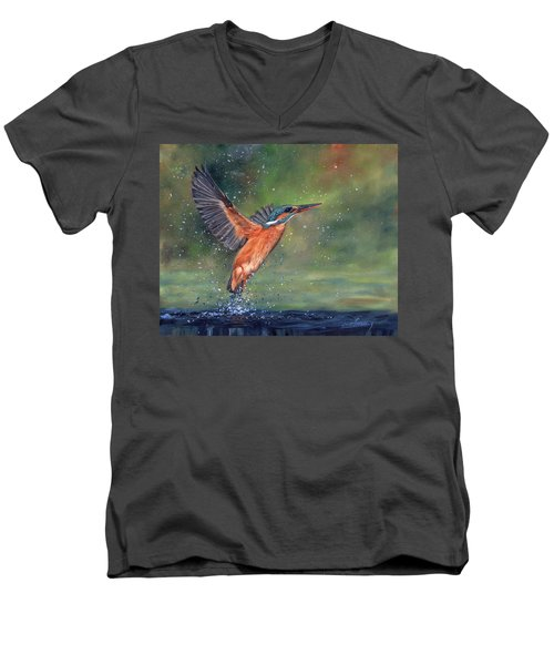 Men's V-Neck T-Shirt featuring the painting Kingfisher by David Stribbling
