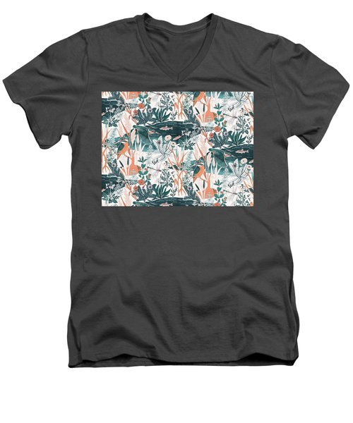 Kingfisher Men's V-Neck T-Shirt by Jacqueline Colley