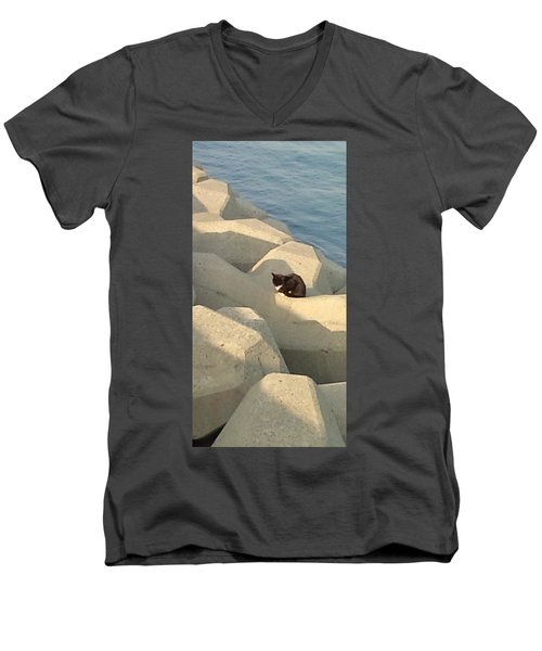 Koneko Means A Kitten. Men's V-Neck T-Shirt