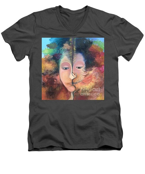 Men's V-Neck T-Shirt featuring the painting La Fille Foret by Art Ina Pavelescu