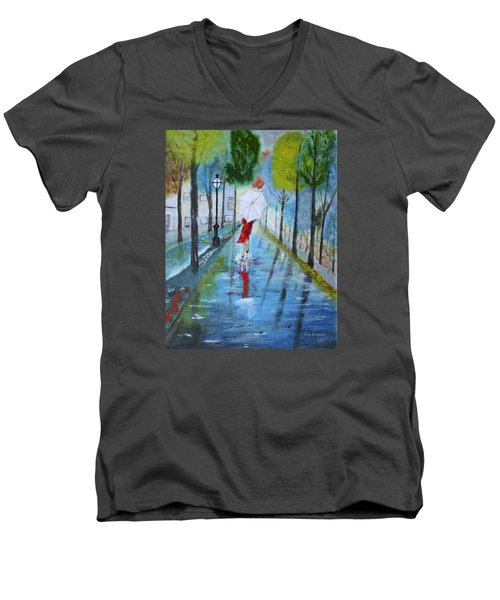 Lady In Red Original Version Men's V-Neck T-Shirt by Dick Bourgault