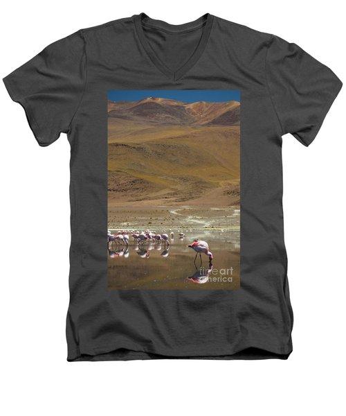 Laguna Colorada, Andes, Bolivia Men's V-Neck T-Shirt by Gabor Pozsgai