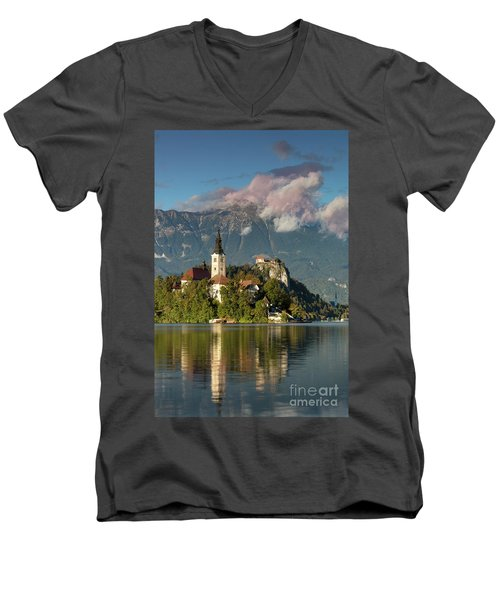 Men's V-Neck T-Shirt featuring the photograph Lake Bled by Brian Jannsen