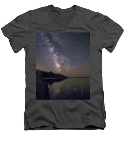 Men's V-Neck T-Shirt featuring the photograph Lake Oahe  by Aaron J Groen