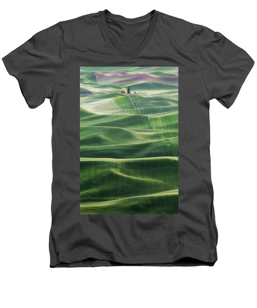 Men's V-Neck T-Shirt featuring the photograph Land Waves by Ryan Manuel