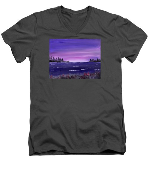 Men's V-Neck T-Shirt featuring the painting Lavender Sunrise by Jack G Brauer