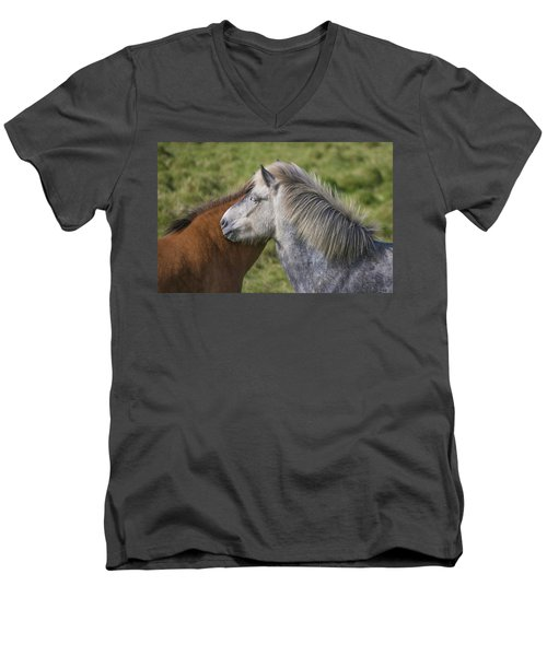 Men's V-Neck T-Shirt featuring the photograph Lean On Me by Elvira Butler