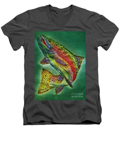 Leaping Trout Men's V-Neck T-Shirt by Scott D Van Osdol