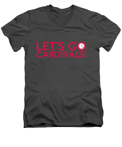 Let's Go Cardinals Men's V-Neck T-Shirt by Florian Rodarte