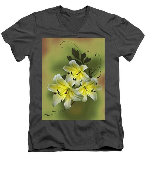 Lily Trio Men's V-Neck T-Shirt by Judy Johnson