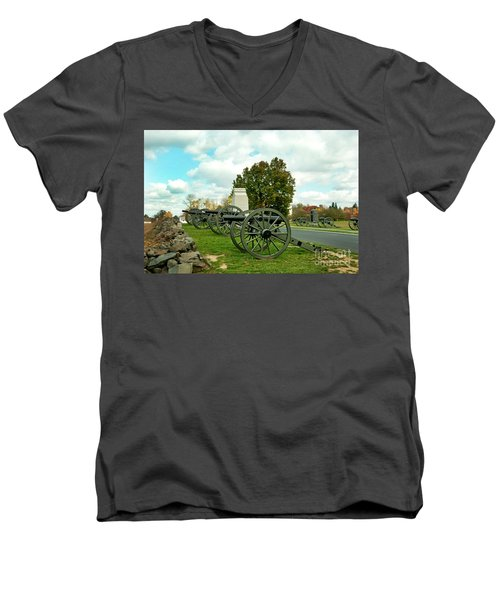 Men's V-Neck T-Shirt featuring the photograph Line Of Fire by Paul W Faust - Impressions of Light