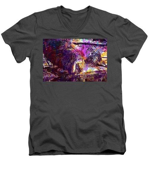 Men's V-Neck T-Shirt featuring the digital art Lion Cat Zoo Male Big Cat Africa  by PixBreak Art