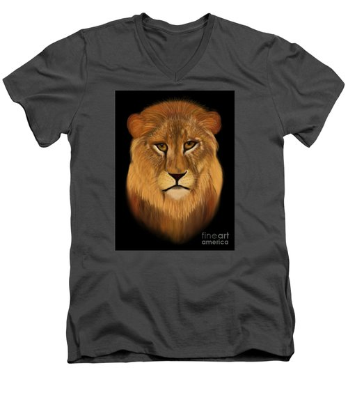 Lion - The King Of The Jungle Men's V-Neck T-Shirt